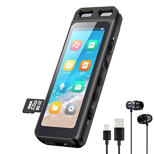 Gueray Grabadora de Voz con Reproductor MP3 Bluetooth 5,0 y 3,1 Inch Pantalla Táctil Incluye Tarjeta TF de 32GB Soporta Vídeo Rompecabezas Juegos Contraseña 1536 Kbps Reducción de Ruido