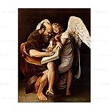 Cuadro famoso de Caravaggio 'San Mateo y el ángel' impreso en lienzo, cuadro de arte de pared para el cartel de decoración de la sala de estar 70x105cm sin marco