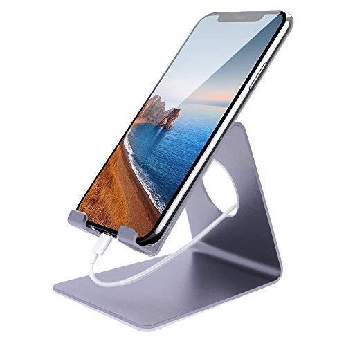 REY Soporte Mesa para Teléfono Movil o Tablet, Base Atril Universal Fabricado en Aluminio, Color Gris