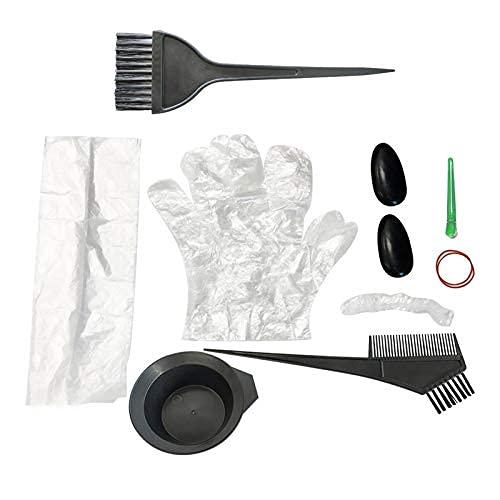 Kit de colorantes para el cabello, kit de colorantes desechables de plástico, uso para salón profesional, peluquería, teñido en casa, bricolaje
