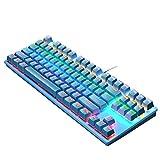 Laimoere Teclado ergonómico para juegos con cable 104 Teclado mecánico retroiluminado RGB teclado mecánico para PC Gamer Computer USB Teclado de juegos con cable