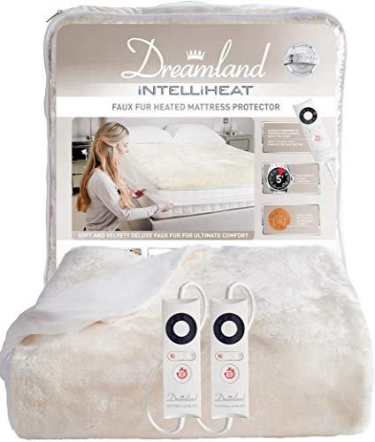 Dreamland Intelliheat Matratzenschoner aus weichem Kunstfell für Doppelbetten, elektrische Decke, 190 x 137 cm, elastischer Rand, 2 Regler, 6 Temperatureinstellungen und Timer, extra Fußwärme