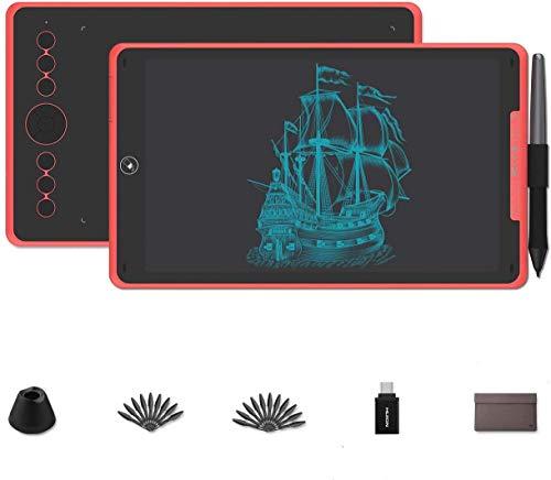 HUION Inspiroy Ink H320M (Rojo) Tableta de Dibujo gráfico Lápiz de Escritura LCD de Doble Uso Tableta ± 60 ° Tilt Pen sin batería 11 Teclas de Acceso rápido para Android 6.0 Windows y Mac OS