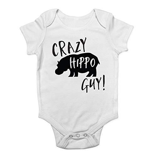 Promini Crazy Hippo Guy Body pour bébé - Blanc - 9 mois