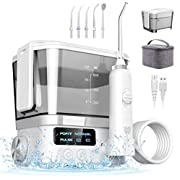 Water Flosser for Teeth, Kirapure 600ml Portable Tooth Cleaner Adjustable Water Pressure Oral Irrigator Tooth Cleaner with 3 Modes and 5 Nozzles, Oral Irrigator IPX7 Waterproof for Home and Travel