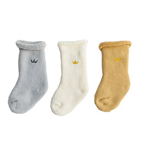 ZUMUii Butterme 3 Paires Unisex bébé bébés Toddlers épais Cuff Coton Chaussettes Toddler Basics Chaussettes pour Les Enfants Les Filles et Les garçons