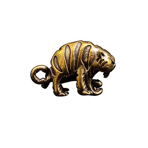 Diseño Cobre Big Mouth Tiger King Figurines Colgantes del Zodiaco de latón Vintage para llaveros Llaveros de Coche de Metal Colgantes