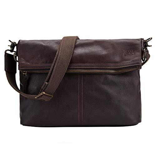 BRASS TACKS Leathercraft Foldable Briefcase Business Messenger Bag Genuine Leather Handbag Crossbody Bag Large Purse Laptop Bag for Men and Women(Dark Brown)