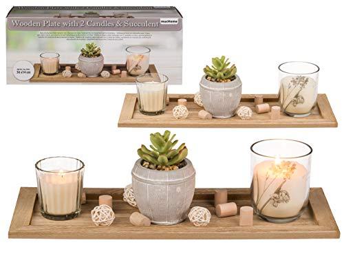 mucHome Naturfarbener Deko-Holzteller Dekoteller Geschenkset mit 2 Kerzen im Glas, Sukkulente im Keramik-Topf & Holzdeko, in Geschenkkarton ca. 36 x 14 x 11cm stimmungsvolle Tischdekoration