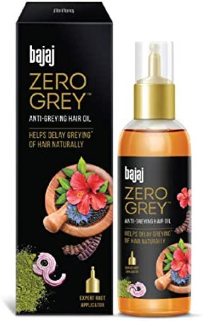 Bajaj Zero Grey Anti Greying Hair Oil Enriched with Onion Helps To Delay Early Greying Hair, 200ml