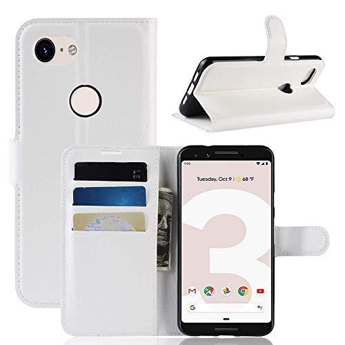 Lapinette Hülle Kompatibel mit Google Pixel 3A XL - Schutzhülle Klappbar Stoßfeste Folio - Lederhülle Google Pixel 3A XL - Wallet Kartenfächer Standfunktion Magnet Weiß