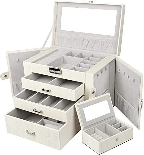 MYGZFF Caja de joyería, Organizador de Almacenamiento de Joyas, con 3 cajones, Caja de Bloqueo con Espejos, Caja de joyería de Viaje portátil para Anillo, Pulsera, Pendientes, Collares, Regalos