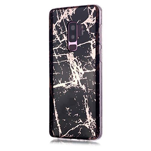 Fatcatparadise für Samsung Galaxy S9 Plus Hülle + Displayschutz, Galvanisiert Marmor Weich Silikon Handyhülle Schlank Flexible TPU Bumper Handytasche Gummi Dünn Abdeckung Schutzhülle (Schwarzes Gold)