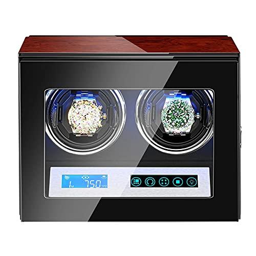DGDD Caja Enrolladora 2 Relojes Silenciosa, Caja Reloj Personalizada Hombre Y Mujer, Enrolladora PortáTil 5 Modos Palisandro Motor Silencioso Almacenamiento Motor Ultra Silencioso Led