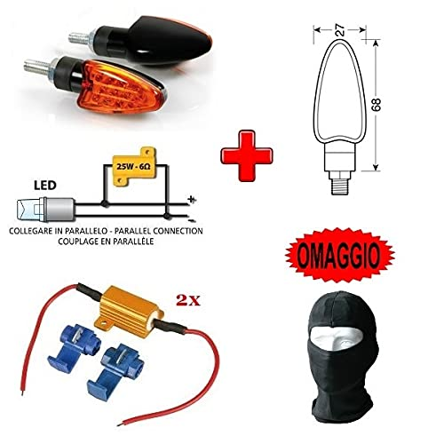 Compatible con Benelli Tornado 900 tre 1 PAR DE Indicadores LED 12V para Motocicletas + 2 RESISTENCIAS 6 Ohm 25W para INDICADOR Parpadeante Kit Aprobado