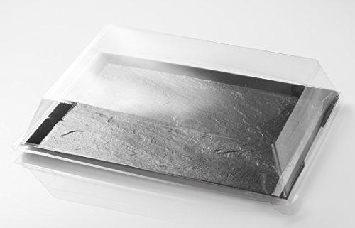 Bandeja de plástico imitación Pizarra con tapa 31,7x24x1 cm – Bandeja efecto pizarra - 5 uds