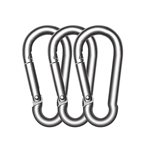 AUTMATCH 3 Stainless Steel 304 Spring Snap Hook Carabiner Link Buckle Pack Grade Heavy Duty Quick Link for Mountain Camping Fishing Hiking Traveling Pack of 3 and Silver Tone