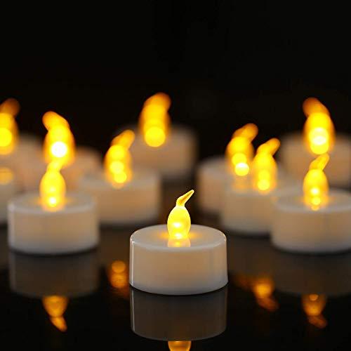 LED Teelichter, 12 Stück, flammenlose LED-Teelichter, realistische flackernde Glühbirne, batteriebetriebene Teelichter, saisonale und festliche Feiern, elektrische künstliche Kerze in warmem Gelb