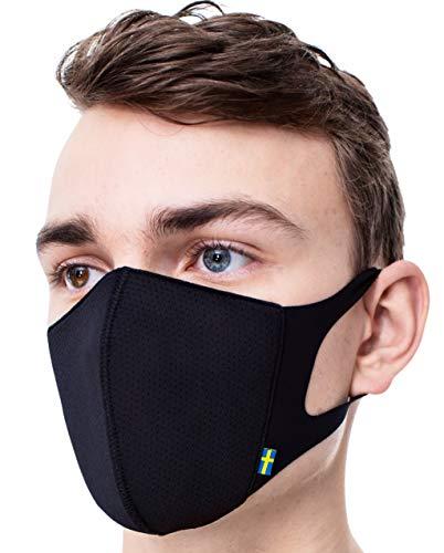 Airinum Lite Air Mask - Atemschutzmaske mit Filter und Elatischer Ohrenhalterung, Leichtgewichtige Waschbare Maske für Stadt, Reisen, Fahrradfahren (S, Storm Black)