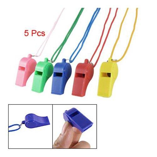 SODIAL(R) 5 pz fischietti colorati in plastica con cordino per sport arbitro