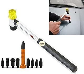 HiYi 10Pcs Dent Repair Tool Kits Paintless Dent Removal Tap Down Tools Dent Rubber Hammer Auto Body DIY Dent Fix Tools