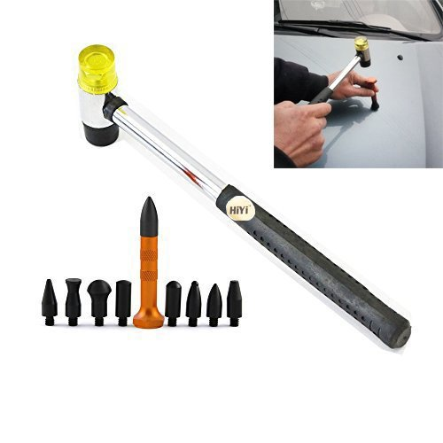 HiYi PDR 10Pcs Dent Repair Tool Kits Paintless Dent Removal Tap Down Tools Dent Rubber Hammer DIY PDR Tools