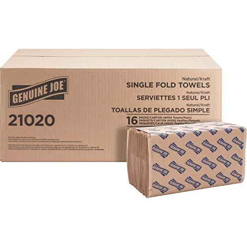 "Genuine Joe GJO21020 1-Ply Single-foCSLD Paper Towel, 10-1/4"" Length x 9.10"" Width, Natural (Case of 16 Packs, 250 sheets per Pack)"