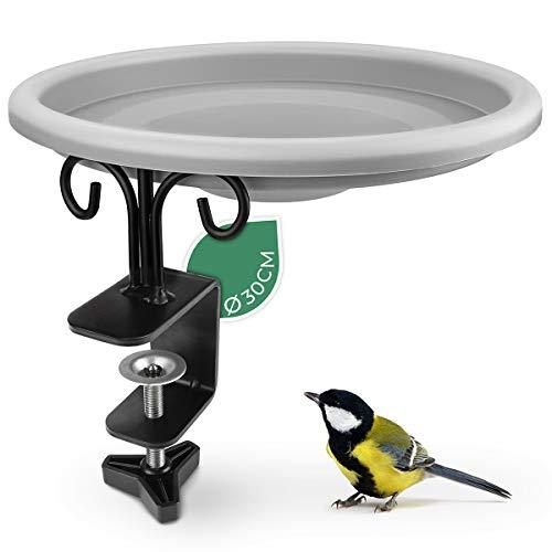 WILDLIFE FRIEND Vogelbad, Vogeltränke, Futterschale mit Balkonhalterung, XL Futterteller - Futterschale für Vögel zum Aufhängen, Futterstation zur ganzjährigen Wildvögel Fütterung
