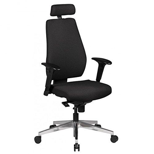 FineBuy Bürostuhl FB41700 Schreibtischstuhl Stoff Schwarz Chefsessel Modern | Drehstuhl mit Synchronmechanik | Arbeitsstuhl mit Kopfstütze 120kg | Bürosessel Höhenverstellbar Wippfunktion mit Armlehne