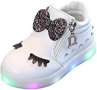 Children Shoes LED Luminous Soft Bottom Boots Sneakers Casual Shoes, Size:22(Red) Children Shoes (Color : White)