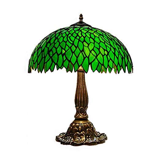 BEAR&MH Tiffany-Tischleuchte, ländliche grüne Blütenblatt-Tischlampe mit Aluminium-Sockel und Glasmalerei, Schlafzimmer-Couchtisch-Wohnzimmer-Schreibtisch-Nachttischlampe,A