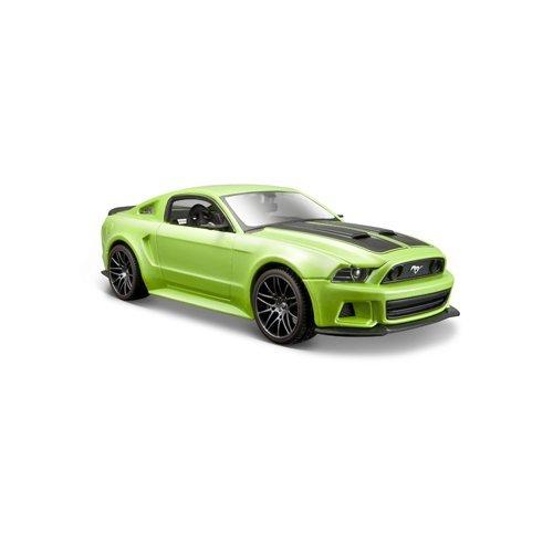 Maisto Ford Mustang Street Racer 2014: getrouw modelauto 1:24, met deuren en motorkap om te openen, klaar model, 20 cm, groen (531506)