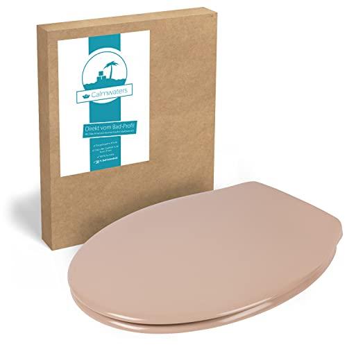 Calmwaters® Antibakterieller WC-Sitz Essential Soft, Duroplast Toilettendeckel, Fast-Fix, Edelstahlscharnier, universale O-Form, ovaler Toilettensitz, Komfort Klodeckel, Beige-Bahamabeige, 26LP2745