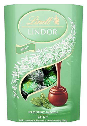 Lindt Lindor - Caja de trufas de chocolate con leche y menta (aproximadamente 16 bolas, 200 g), el regalo ideal
