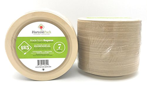 """[125 COUNT] 7"""" in Round Disposable Plates - Made From Natural Plant Fibers Contemporary Eco Friendly Paper Plastic Alternative 100% by-product"""