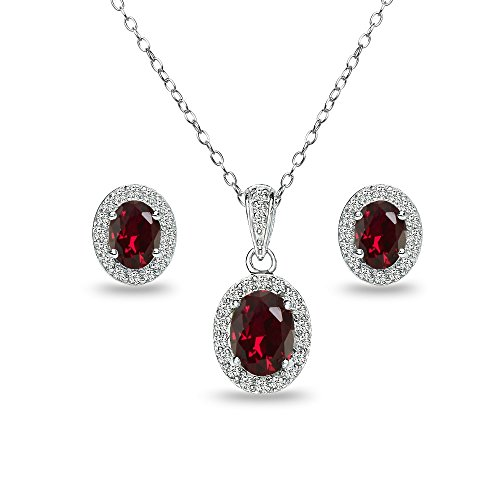 GemStar USA Sterling Silver Created Ruby and White, Created Ruby, Size No Size