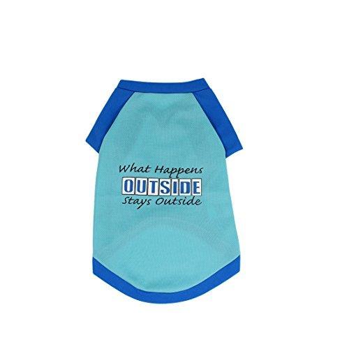 DealMux Inglés de Verano Caracteres Impresos Camisa del Animal doméstico Ropa XS Azul