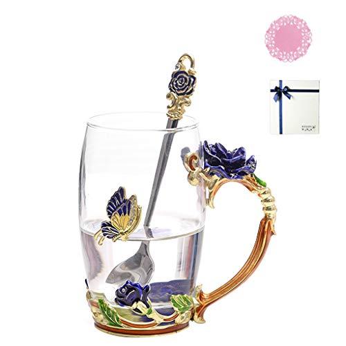 lailongp Glas Kaffeetasse Teetasse mit Löffel Für Rose Print Teeglas Mit Geschenkbox