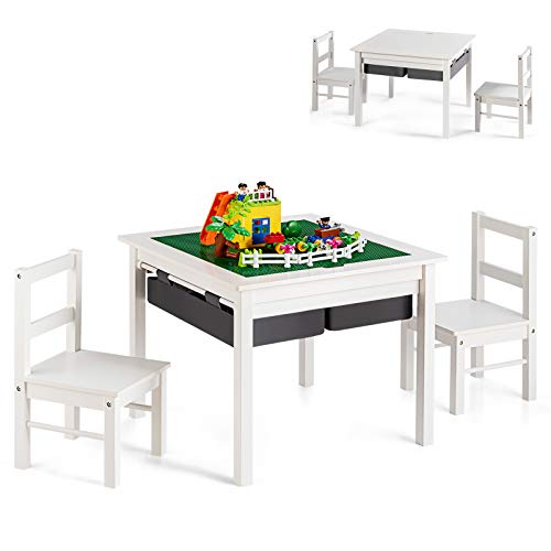 COSTWAY Kinder Spieltisch mit doppelseitiger Tischplatte, Bausteintisch mit Schubladen, Schreibtisch und Zeichentisch aus Holz, Kinder Sitzgruppe zum Zeichnen, Lesen und Basteln (Weiß)