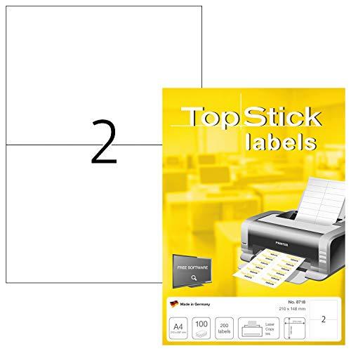 TopStick 8718 Universal Etiketten DIN A4 groß (210 x 148 mm, 100 Blatt, Papier, matt) selbstklebend, bedruckbar, permanent haftend Adressaufkleber, 200 Klebeetiketten, weiß