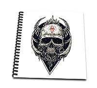 3dRose 白黒 悪魔の頭蓋骨 ホラー ハロウィン 抽象ゴシック ワイヤーバウンド ノートブック (db_254382_2)