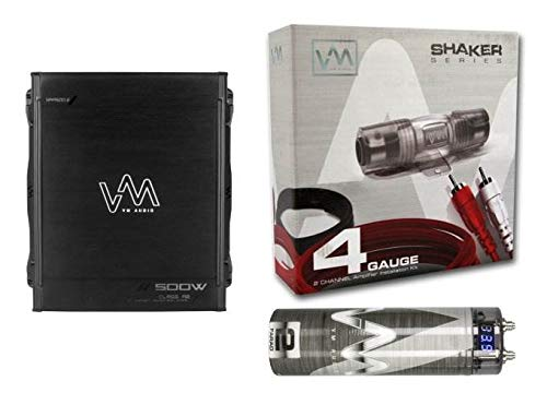 VM Audio 500W 2 Channel Car Amp + 4 Gauge Wiring Kit (Red) + 2 Farad Capacitor