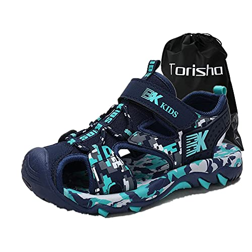 [Torisha] キッズサンダル 男の子 ビーチ サンダル つま先保護 スポーツサンダル 通気性 アウトドア 子供用シューズ 滑り止め 軽量 キッズ靴 ダークブルー 20.5cm