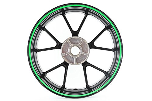 Curved Wheel Rim Striping Stickers / Decals Tape roll with applicator for Motorcycles (& Car) Fits 20' Wheel - 7mm - Fluorescent Green (2189-018)