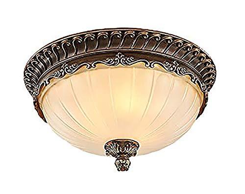 LZZRI Plafoniera rotonda retrò Soggiorno Plafoniera Cucina Illuminazione a soffitto Camera da letto Lampadina Vintage Ottone Metallo con Motivo Schermo in vetro Bianco Opaco 3 x 60W E27