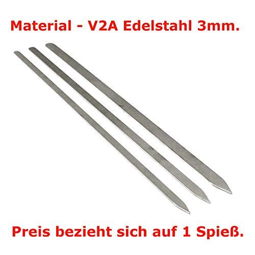 Grillmeister-Schwab Edelstahl Köftespieße Schaschlikspiesse 3mm Adana Kebap Spieße V2A Fleischspieße (Länge 60cm - Breite 20mm)
