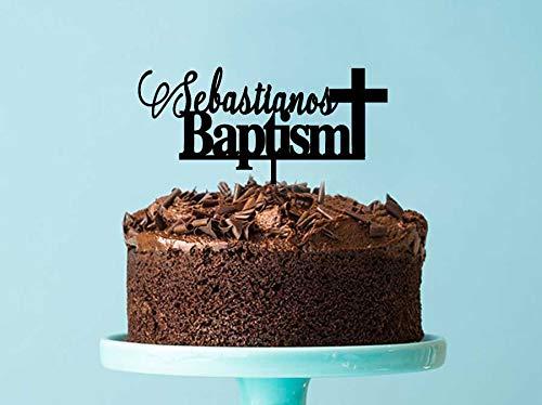 Tortenaufsatz für Taufe mit Namen, personalisierbar, mit Kruzifix, lasergeschnittenes Acryl, Taufzubehör Australien