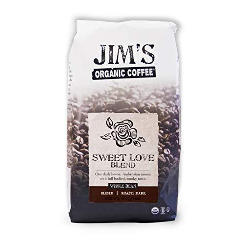 Jim's Organic Coffee – Sweet Love Blend – Whole Bean, Dark Roast, Bold 11 oz Bag