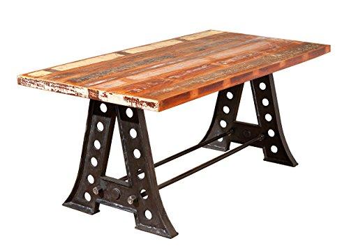 Inter Link 85300410 Esszimmertisch Esstisch Küchentisch 180x90 cm Mango Metall Tisch Design shabby