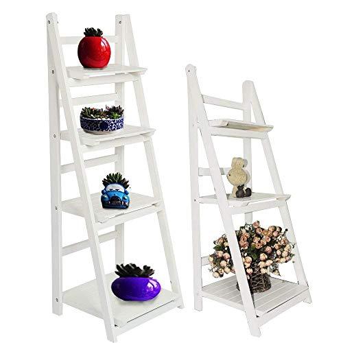 MultiWare - Estantería para libros inclinada con diseño de escalera, madera, Blanco, 4 niveles